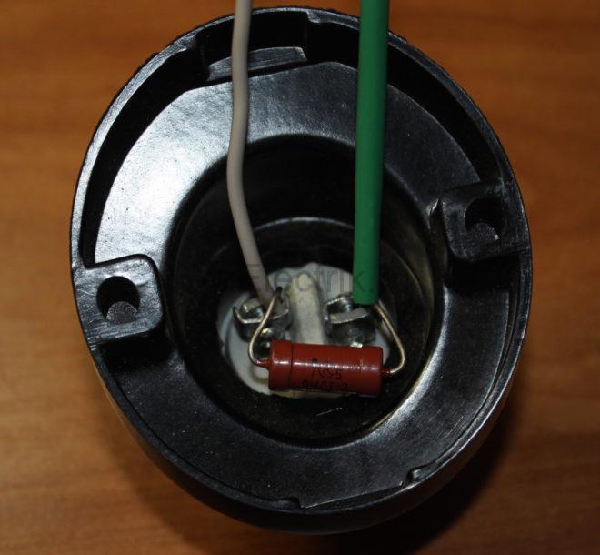 подключение резистора в патроне лампы