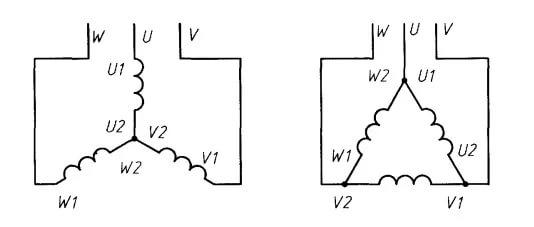 схема подключения обмоток трехфазного двигателя