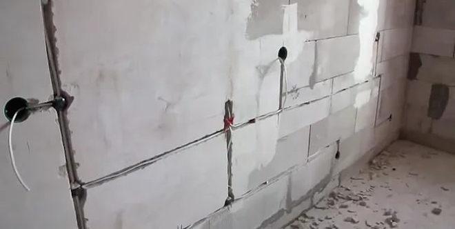 скрытая проводка в стене