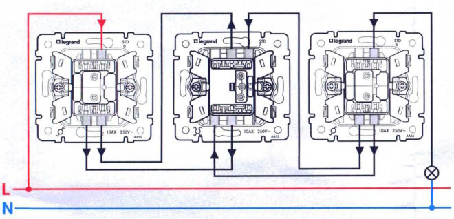 схема подключения трех выключателей