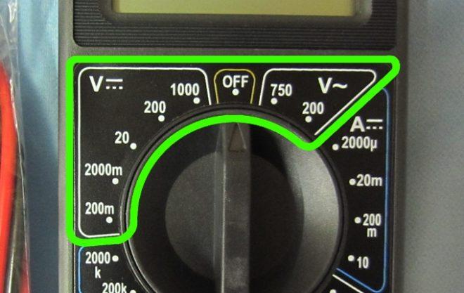 Постоянный и переменный ток на шкале мультиметра