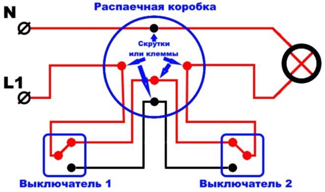 Схема подключения через распаечную коробку