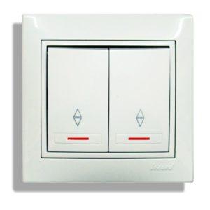 двухклавишный проходной выключатель с подсветкой