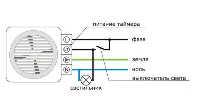 схема подключения вентилятора с таймером