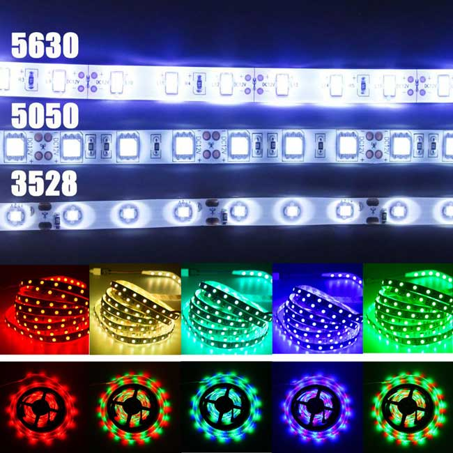 как светят разные светодиодные ленты 3528, 5050, 5630