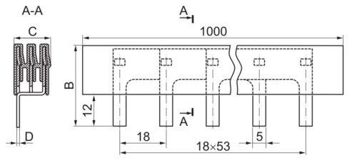 Расстояние между штыревыми отводами на шинах