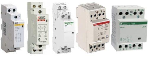 Внешний вид модульных контакторов от разных производителей