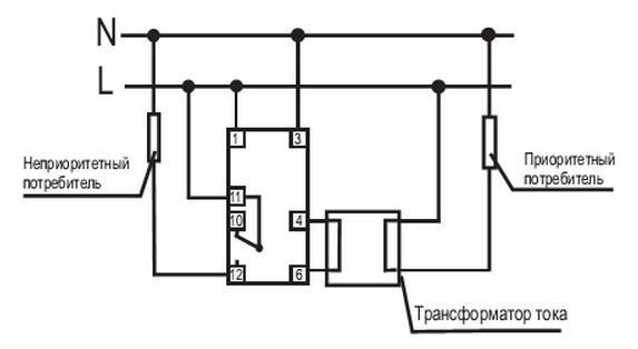 схема реле тока приоритетное