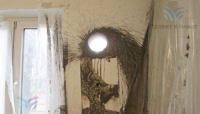 мокрое сверление стен для подключения кондиционера