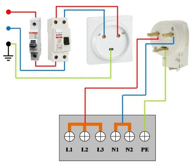 схема подключения электроплиты на одну фазу