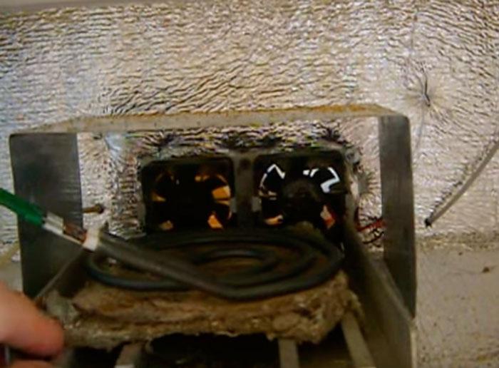 асбест под тэном от плитки на дне сушильной камеры
