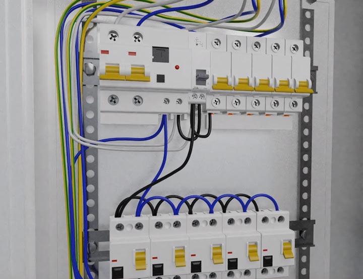 подключение всех автоматов в щитке после трехпозиционного переключателя и стабилизатора