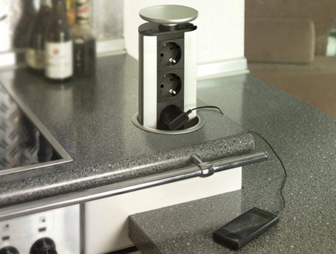 выдвижные розетки на кухне