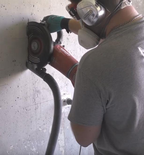 работа с болгаркой Хилти 230 и насадкой от пыли Механик Duster