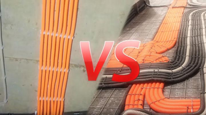 как правильно делать электрику по полу или по потолку