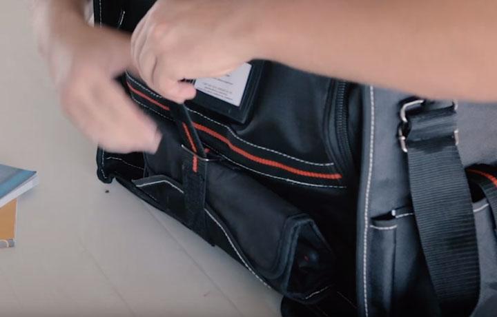 крепеж для крупногабаритного инструмента на сумке монтажника от КВТ С-06