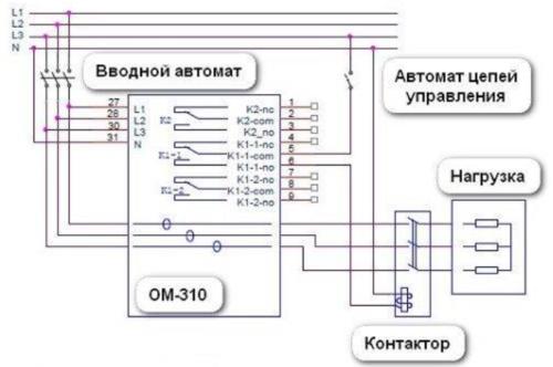 Схема с монтажом автомата с одним полюсом с размещением всех элементов в одном щите