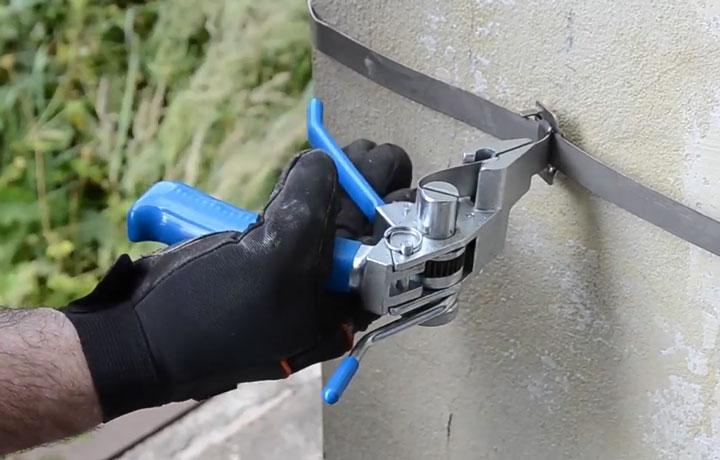 инструмент для бандажной ленты с храповым механизмом под одну руку шток