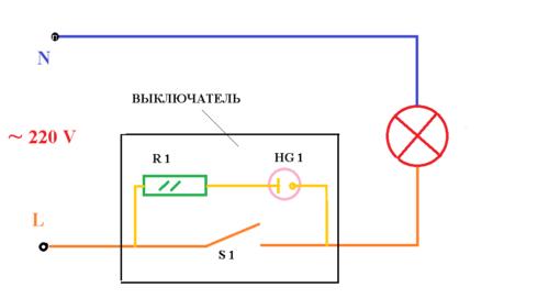 Простая схема подключения цепи выключателя с подсветкой из неоновой лампочки