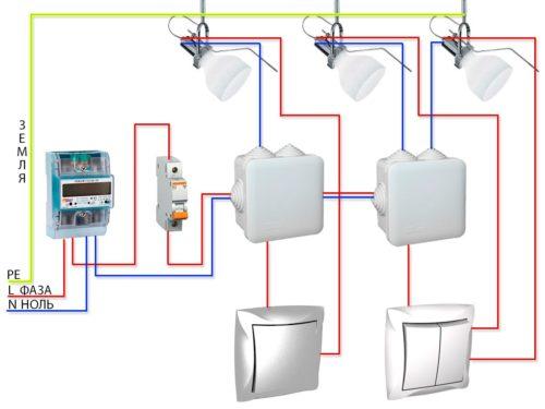 Схема подключения обычных выключателей с одной и двумя клавишами