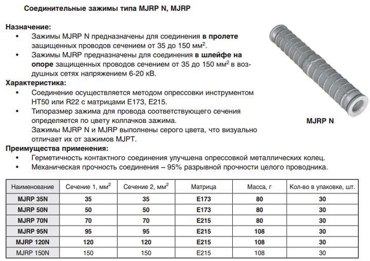 характеристики соединительных зажимов для СИП-3 Niled MJRP