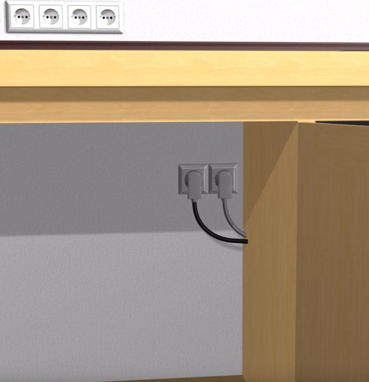 место для розетки под духовой шкаф