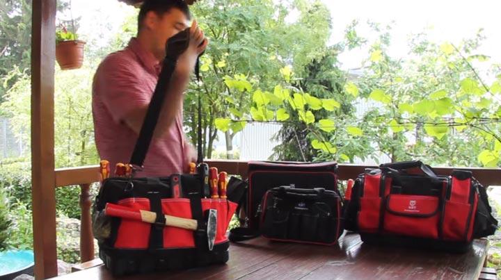 размещение инструмента в наружных карманах сумки КВТ С-01