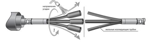 Установка на жилы изолирующих трубок и их усадка осуществляется с нагреванием поверхности