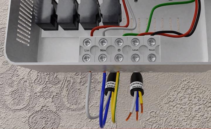 подключение кабеля вводного питания на стабилизатор напряжения