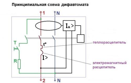 Принципиальная схема АВДТ с тепловым и электромагнитным расцепителем