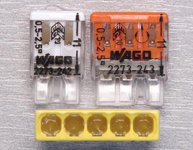 зажимы ваго с пастой для соединения медных и алюминиевых проводов