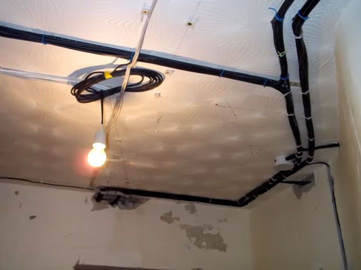 прокладка кабеля без кофры по потолку в пучках можно или нет