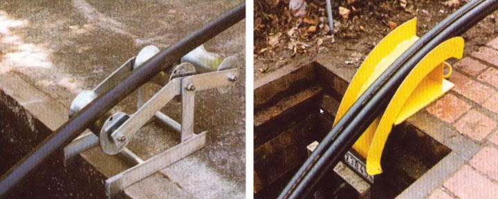 опорный ролик или желоб при входе кабеля в траншею