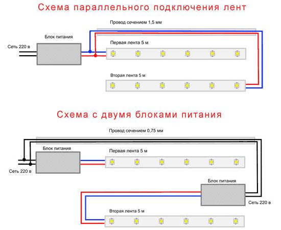схема параллельного подключения светодиодной ленты