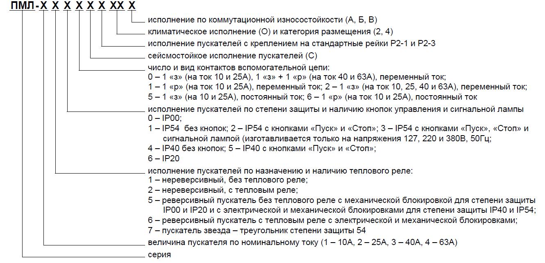 Расшифровка маркировки пускателей ПМЛ
