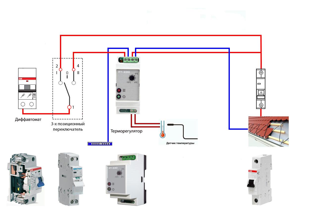 простая схема обогрева кровли и водостоков с одним терморегулятором