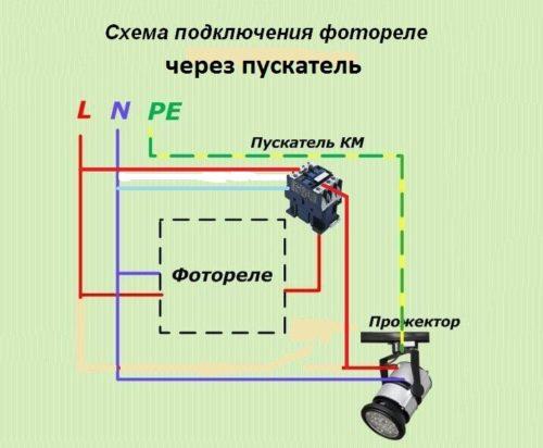Такие схемы позволяют использовать маломощные фотореле в цепях с большими токами, где в качестве приборов освещения используются прожектора с лампами большой мощности.