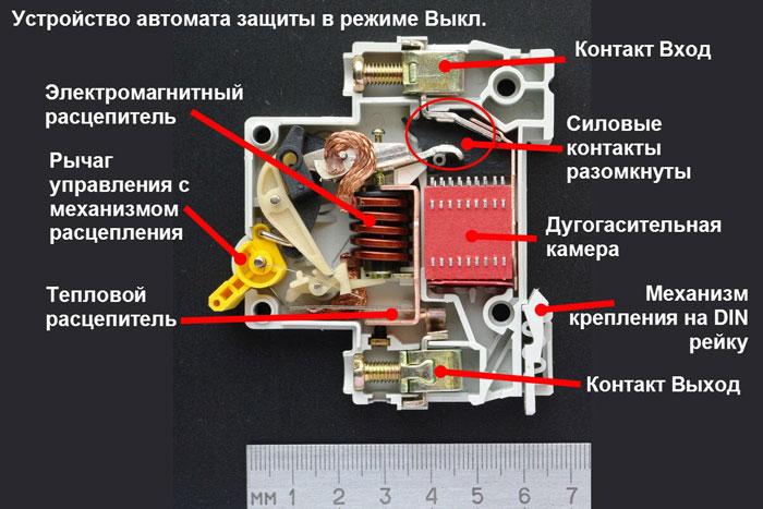 что находится внутри модульного автоматического выключателя
