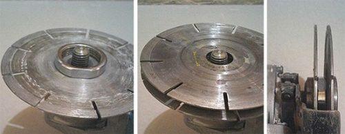 Для выреза параллельных борозд на вал болгарки устанавливаются два диска