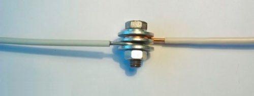 Пример болтового соединения проводов с медной и алюминиевой жилой