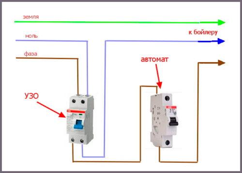 Схема подключения бойлера через защитные средства автоматики УЗО и АВ