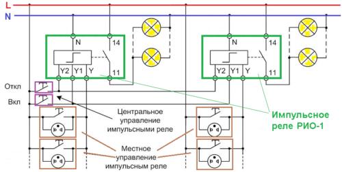Схема подключения нескольких импульсных реле с централизованным управлением