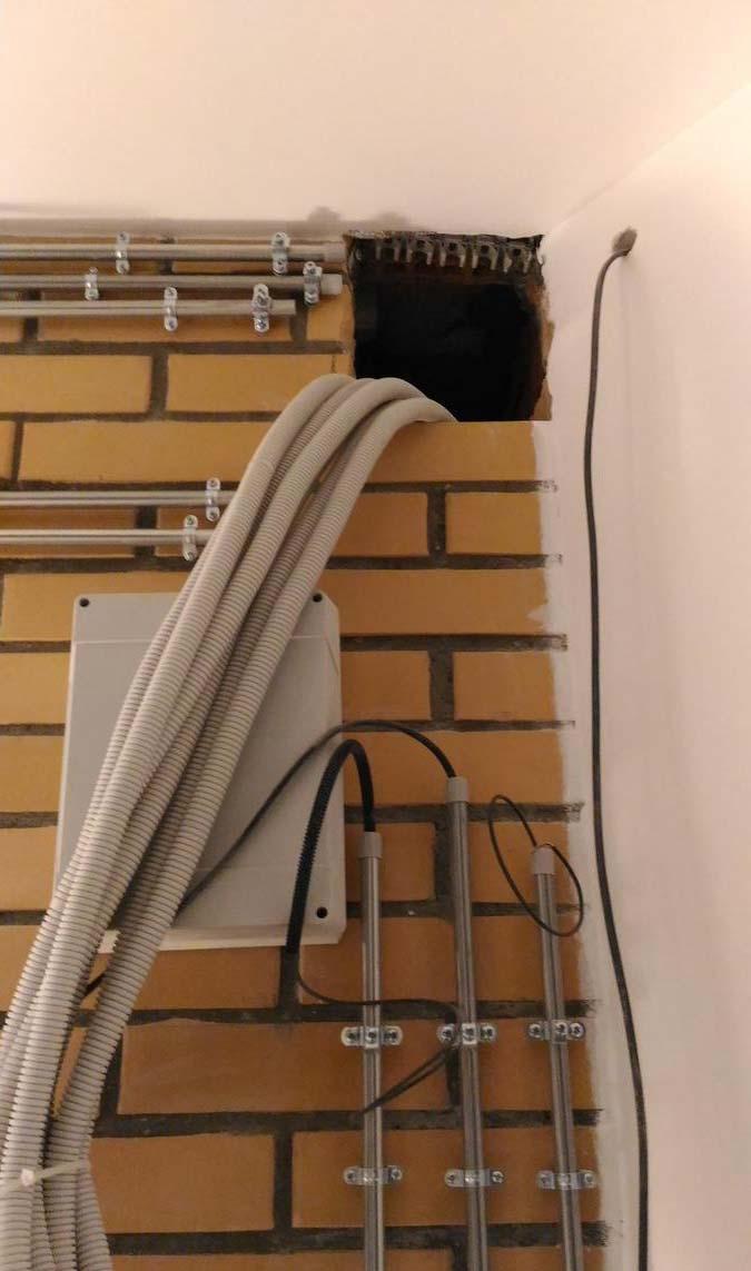 переход проводки через стену