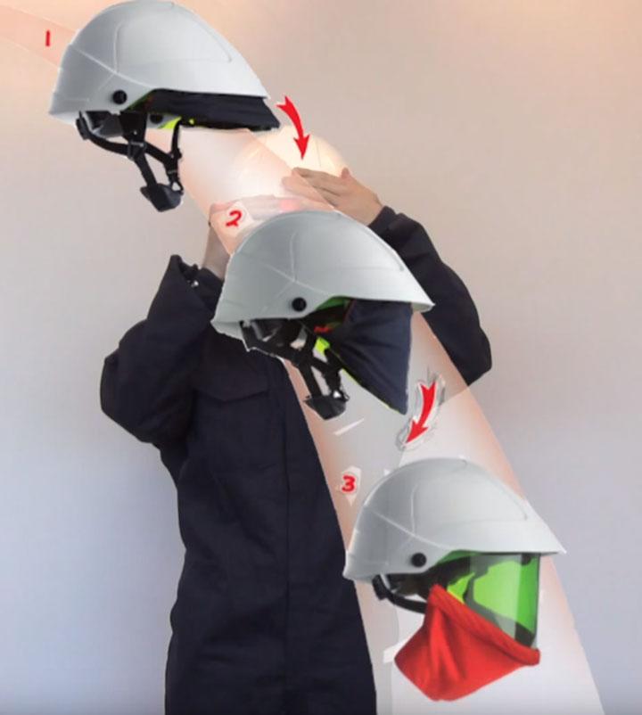 защитная маска с каской для работ на ВЛ