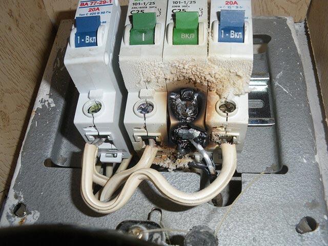выгорание контактов на модульном автомате