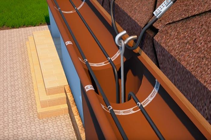 вертикальный участок кабеля обогрева вниз по водостоку