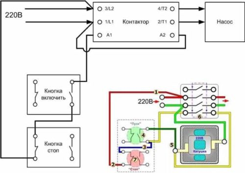 Схема подключения насоса от однофазной сети через модульный контактор