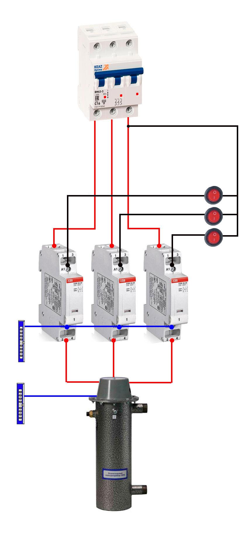 схема включения котла отопления