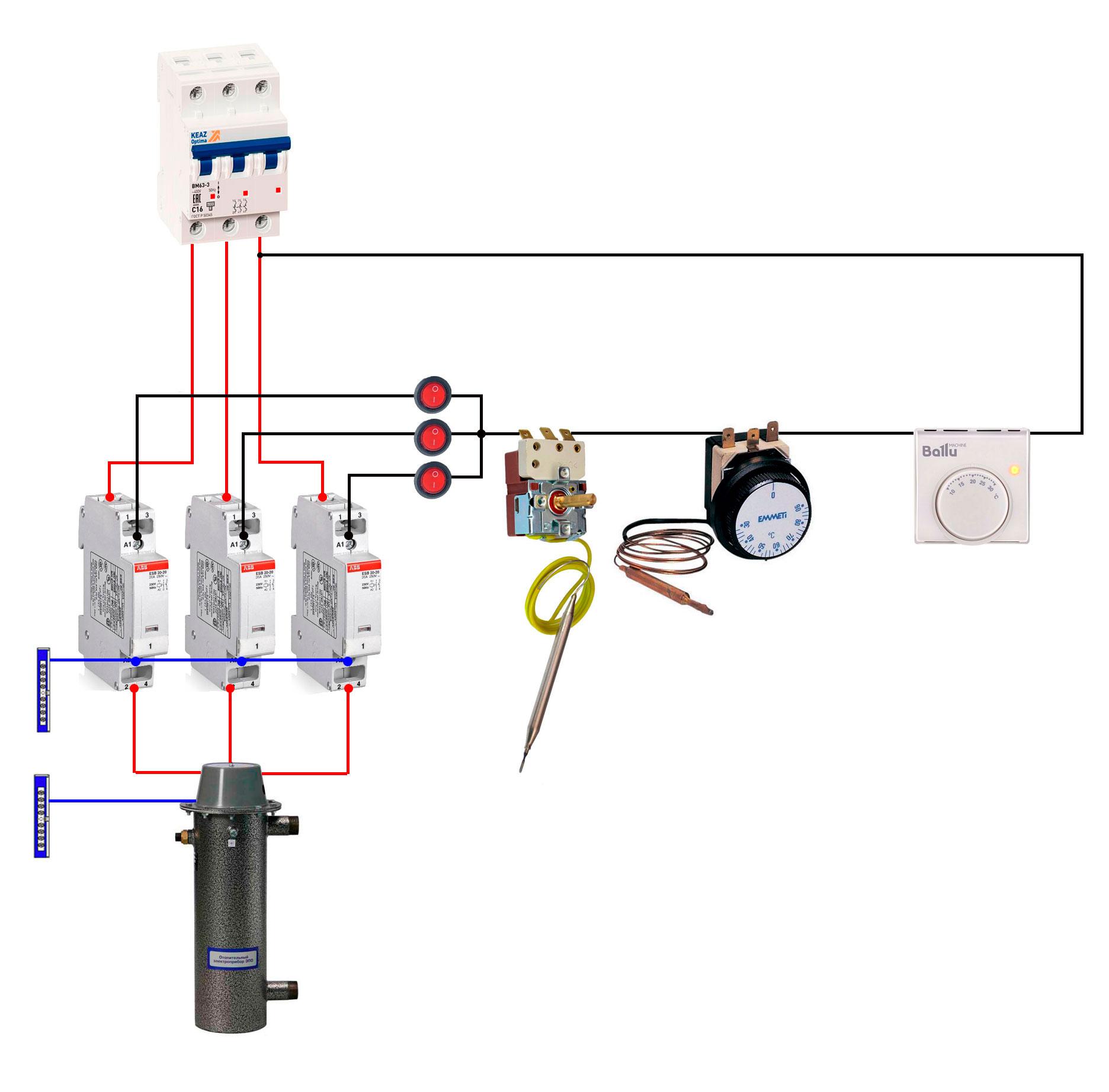 схема автоматики управления электрокотла и электрического отопления своими руками