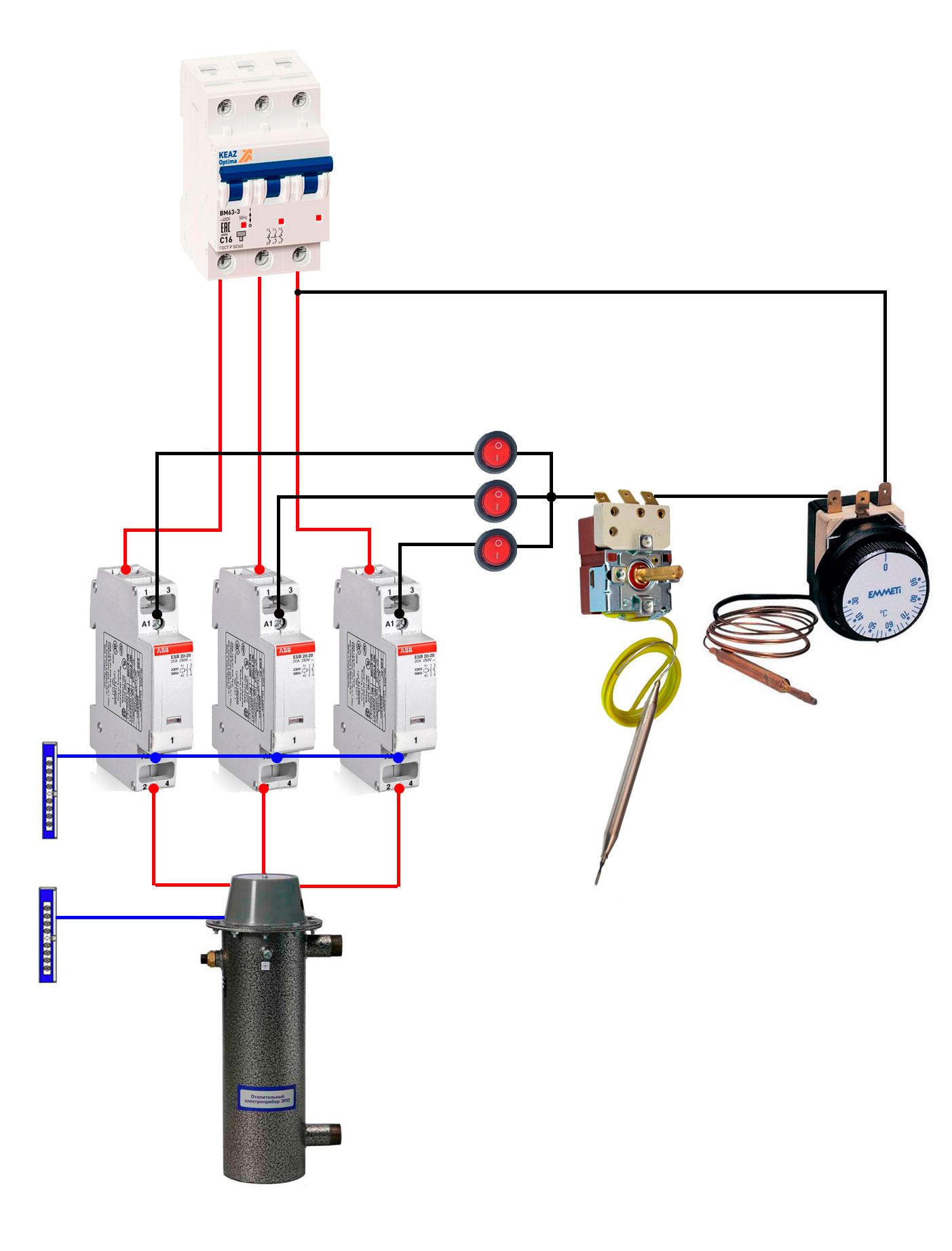 схема подключения рабочего термостата